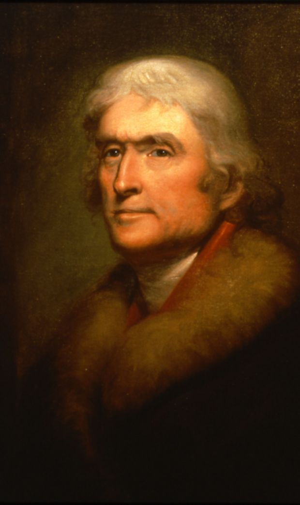 Copy of a portrait of Thomas Jefferson by Rembrandt Peale; copy by James L. Dick.