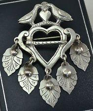 David Andersen RARE Early Dove & Leaves 830S Silver SOLJE BROOCH -- 1888-1925