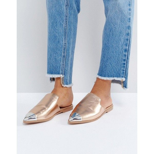 ASOS MONA Flat Mules ($23) ❤ liked on Polyvore featuring shoes, gold, gold slip on shoes, gold prom shoes, prom shoes, metallic slip on shoes and flat mules shoes