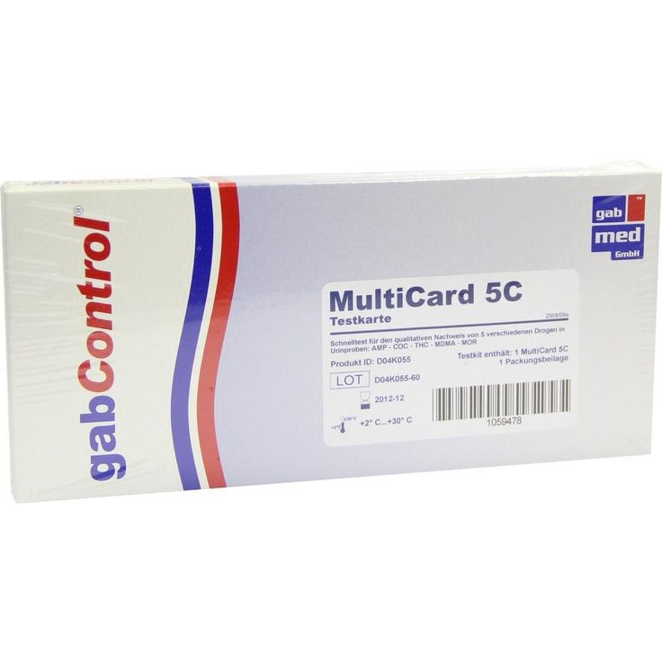 DROGENTEST Multi 5C AMP-COC-MOP-MDMA-THC Testk:   Packungsinhalt: 1 St Test PZN: 01059478 Hersteller: gabmed GmbH Preis: 13,70 EUR inkl.…