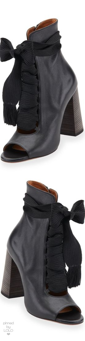 Chloe Open-Toe Leather Lace-Up 70mm Ankle Boot, Black | LOLO❤︎