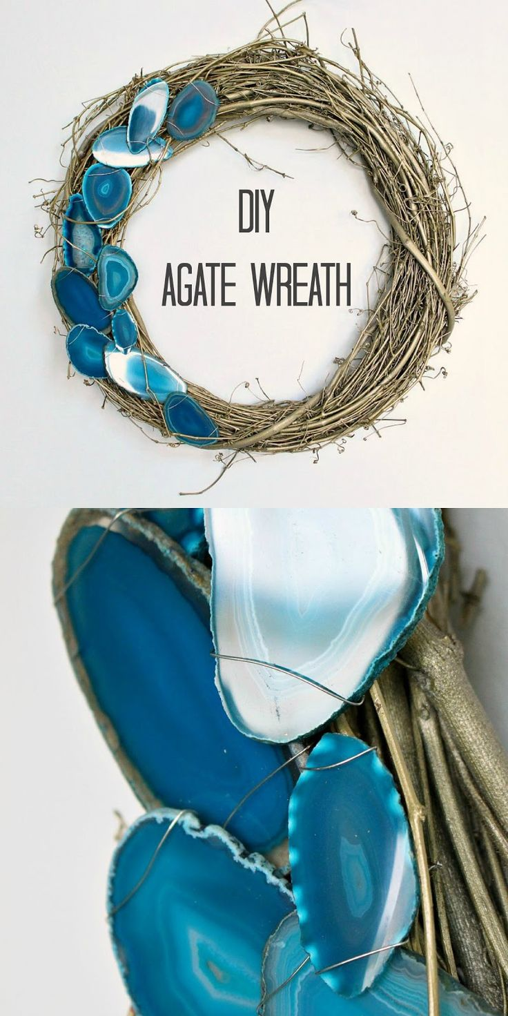Modern wreaths for front door - Diy Agate Slice Wreath