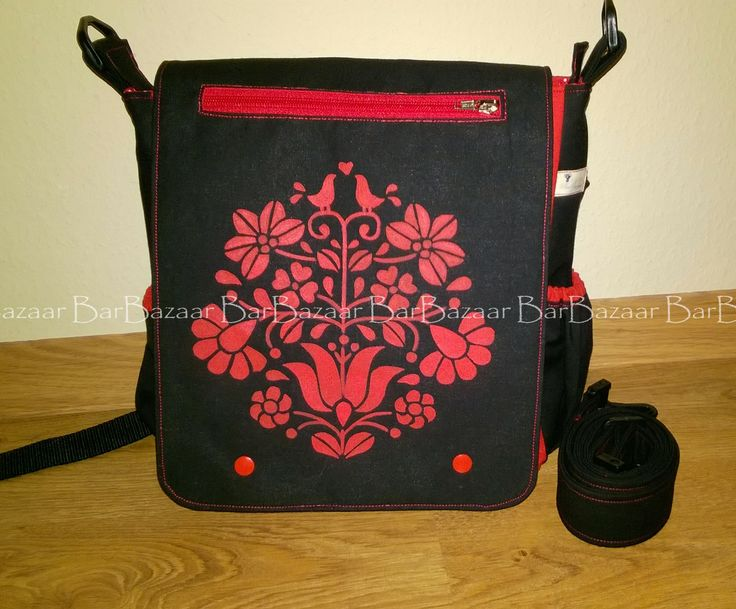 Hand painted 2in1 bag for baby carrying with hungarian folk motif.