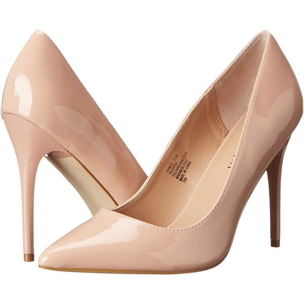 Madden Girl Ohnice High Heels, Beige (£26) ❤ liked on Polyvore featuring shoes, pumps, heels, sapatos, beige, slip on pumps, patent leather shoes, beige patent leather shoes, high heel pumps and patent shoes