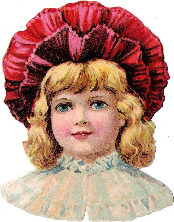Oblaten Glanzbild scrap die cut chromo Kind child head Portrait Hut hat