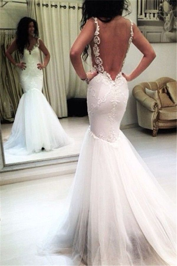 Mermaid Sexy Sleeveless Tulle Appliques Open-Back Wedding Dresses BA3788 Item Code: qq0004