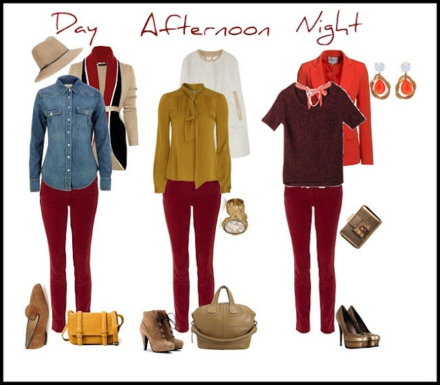 Burgundy pants - with mustard yellow and punchy red