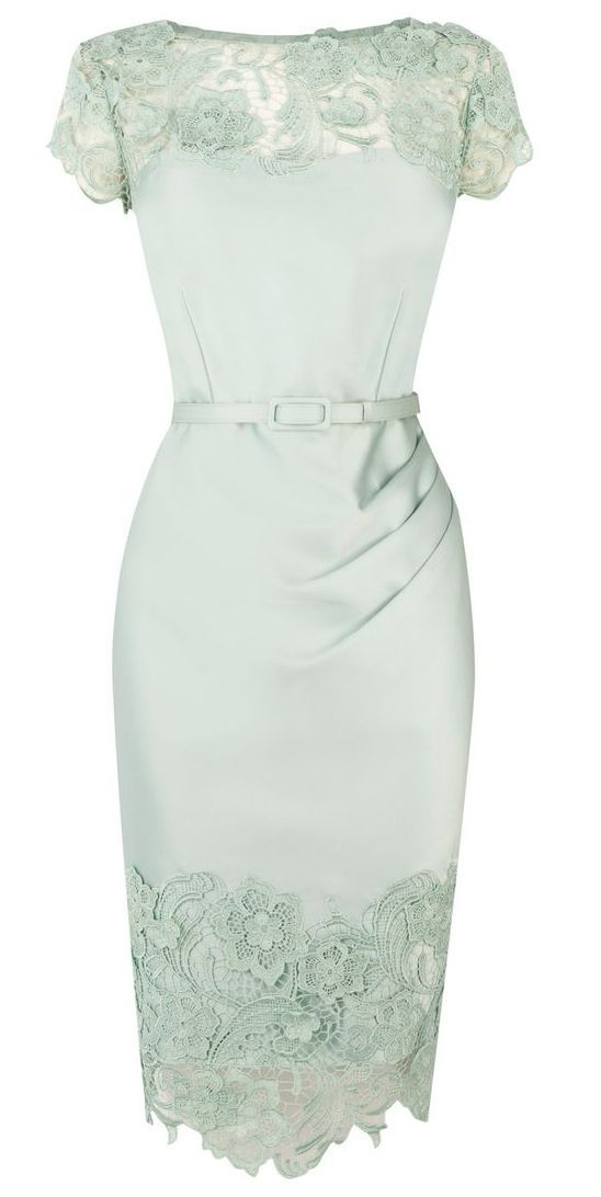 Mint lace pencil dress by AislingH