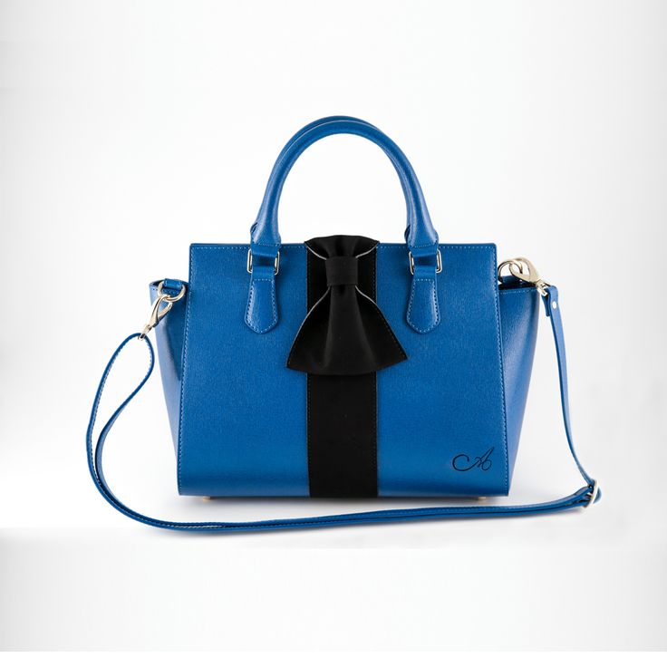 Aseel Omran Conia cobalt blue Safiano leather bag
