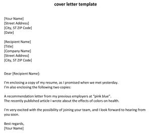 sample cover letter for resume in word format