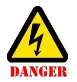 Signo de peligro alto voltaje símbolo con texto stock photography
