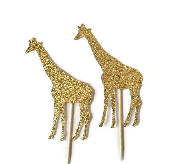 These giraffe cupcake toppers will look so cute at a safari baby shower.