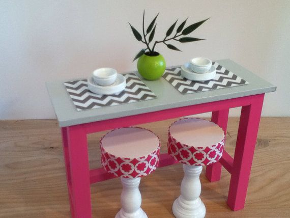 barbie furniture ideas. Kitchen Island With 2 Stools, Barbie Furniture, Monster High Furniture On Etsy, Ideas A