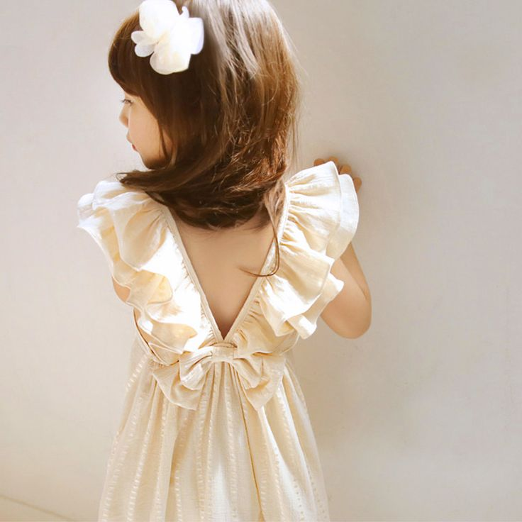 ruffles back party dress for little girl