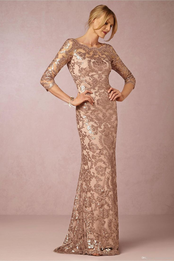Long Sleeves Rose Gold Mother Of The Bride Groom Dresses Bateau Neck Plus Size Vintage Lace Long Formal Evening Party Wear BA0528 Inexpensive Mother Of The Bride Dresses Lace Mother Of The Bride Dress From Wholesalefactory, $104.53| DHgate.Com