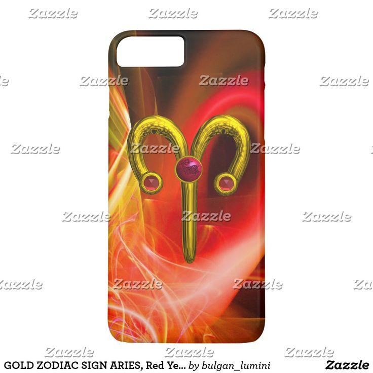 GOLD ZODIAC SIGN ARIES, Red Yellow Fractal Swirls iPhone 7 Plus Case #astrology #astrologist #3d #ram #techno #zodiac