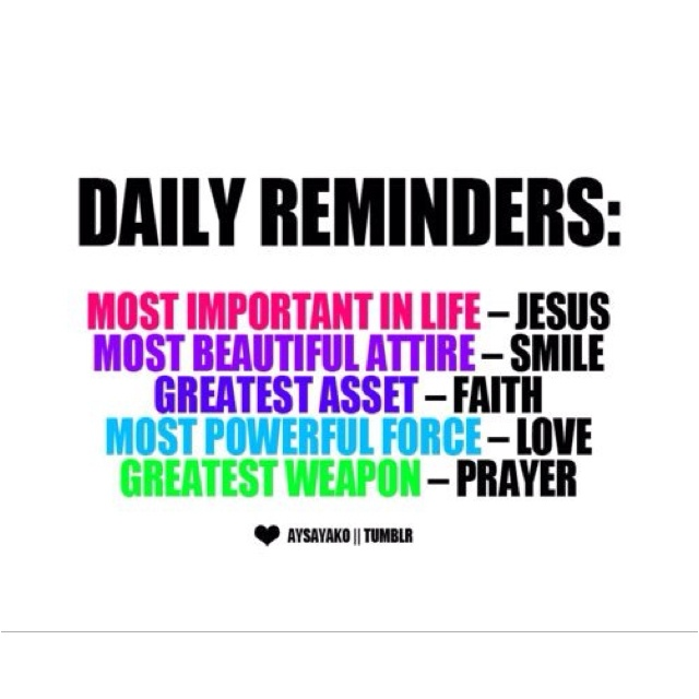A few daily reminders