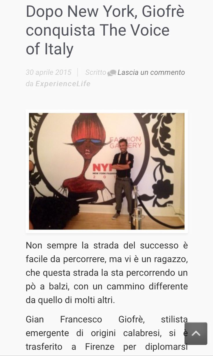 Giofrè uno stilista emergente che prima ha conquistato New York e ora sbarca in Italia Vestendo i ballerini che hanno accompagnato la performance di #danypetrarulo sulle note di #guerriero di #marcomengoni. L'articolo completo su www.experiencelife.it #giofrè #giofrèfashion #milano #firenze #thevoiceofitaly #thevoice #newyork #moda #fashion #style #stylish #top #florence #music #fashion #style #stylish #love #TagsForLikes.com #me #cute #photooftheday #nails #hair #beauty #beautiful…