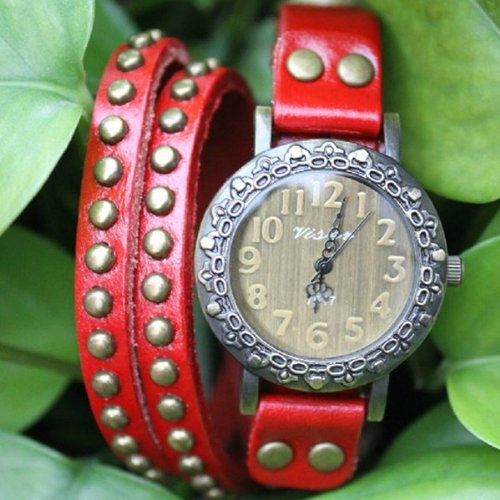 MagicPiece Handmade Vintage Style Leather Watch For Women Big Round Dial Leather Wrap Watch with Rivet in 4 Colors: Red: Watches: Amazon.com...