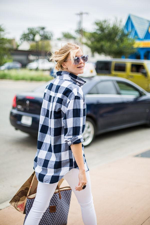 A Piece of Toast mixes in her fave accessories with our Boyfriend Flannel for a relaxed autumn look. | Source: http://apieceoftoastblog.com/2014/09/18/errand-running/