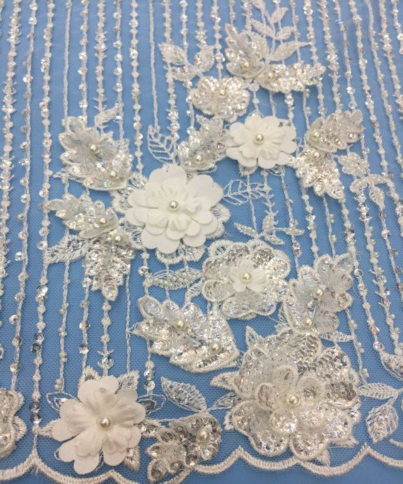 Fabulous Elegent lace fabric beaded lace fabric with flower lace fabric gown lace guipure lace high quality wedding dress lace fabric by AnnabelleDIY on Etsy