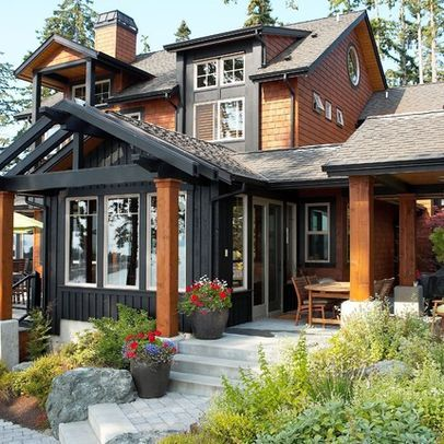 17 best ideas about dark gray houses on pinterest gray houses white trim and house exteriors - Exterior paint colours for wood pict ...