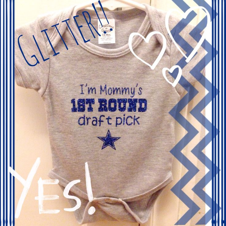 Dallas Cowboys Glitter onesie- Mommy's 1st Round Draft Pick by TipsyPaws on Etsy