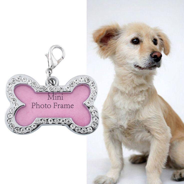 2016 Очарование Алмазные Украшения ID Pet Dog Tags Индивидуальные Персонализированные Собака Кость Формы CuteTag Ошейники Для Собак