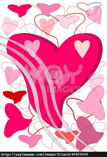 Large heart and much small hearts - Stock illustration