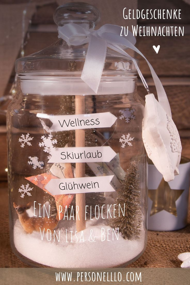 Money gift biscuit jar as winter landscape – tinker money gifts for Christmas. If you want to give away money at Christmas, it often lacks the …