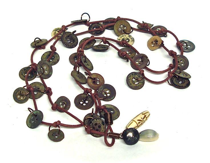 Old steel button lariat by Linda Jones