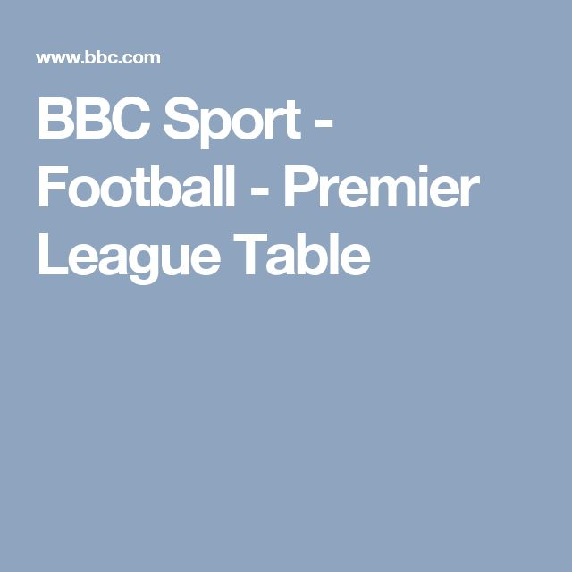 BBC Sport - Football - Premier League Table