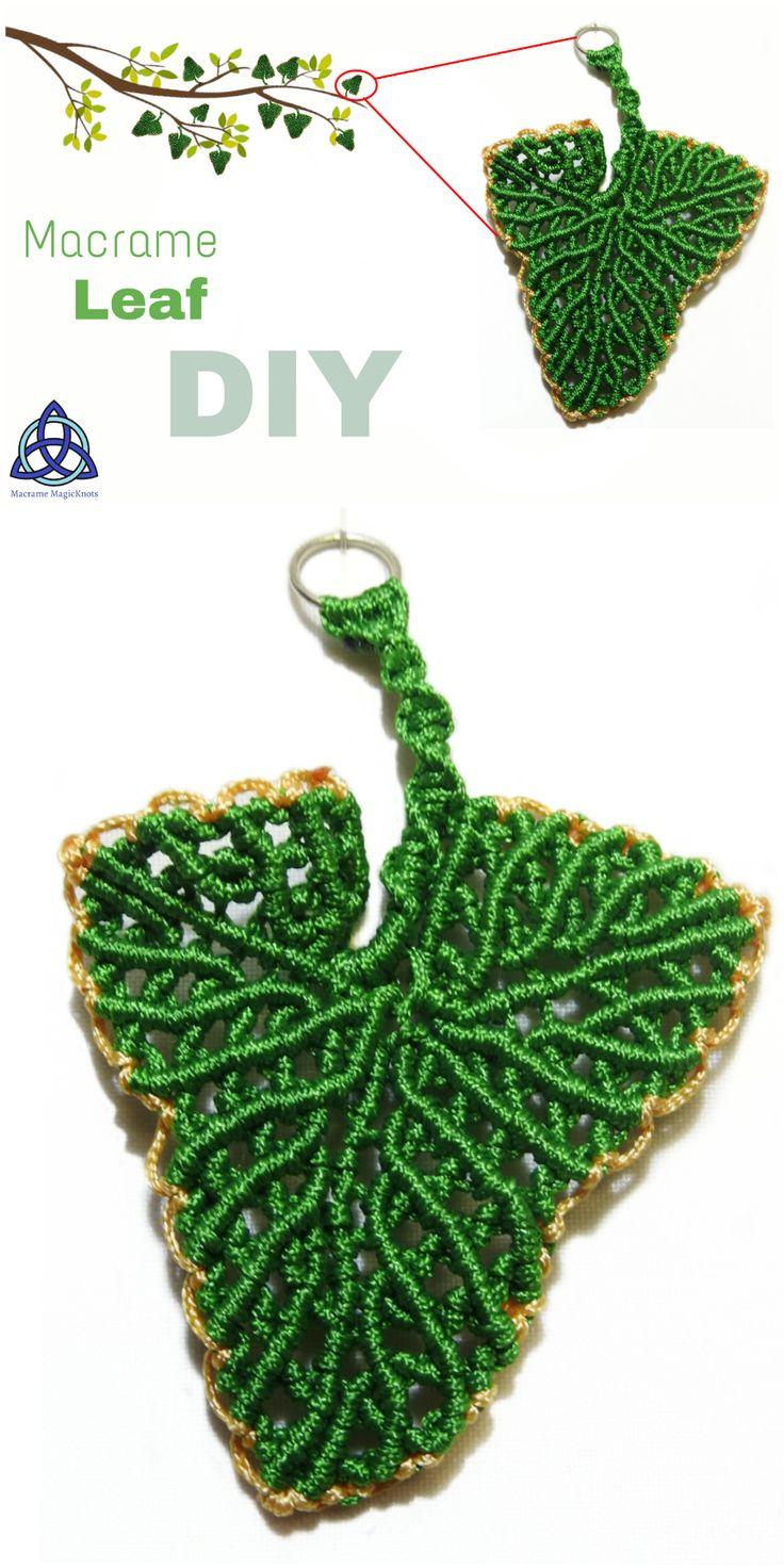 Learn fast and easy how to make this beautiful Green Macrame Leaf following each step. Enjoy in the process  #macrame #macrameleaf #leaf #howtomakeleaf #howto #craft #DIYleaf #macrameDIY #Macrametutorial #gift #pendant #keychain #5mincraft #handmade #crafty #handcraft #yarn #macramependant
