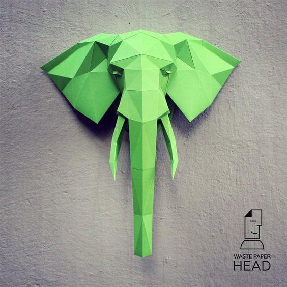С этим шаблоном вы сможете собственноручно сделать бумажную голову слона…