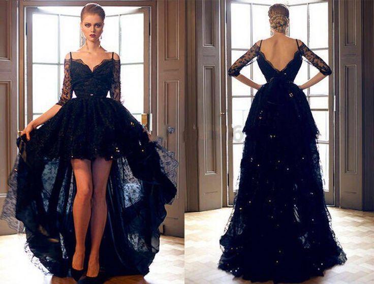 Tenha Real Pictures querida marinha Prom Vestido De noite 2016 Lace cristal Sequines curto frente atrás longo Vestido De Festa Custom(China (Mainland))