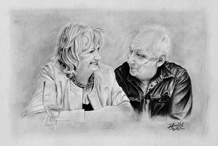 Kresba staršího páru #charcoal #portrait #pitt