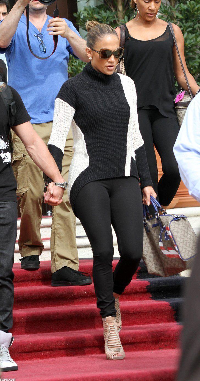 Jennifer Lopez wore a black turtleneck for a day of traveling. | Jennifer Lopez and Casper Smart Have a Romantic Lunch in Miami | POPSUGAR Celebrity Photo 5
