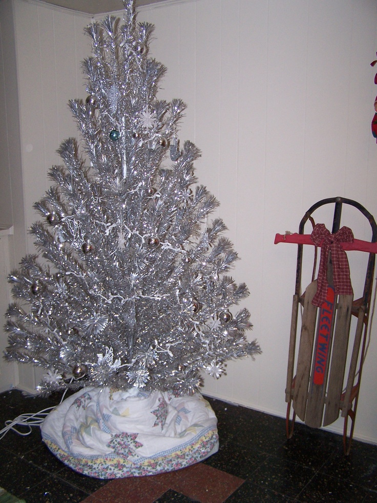 Vintage Silver Christmas Tree.  Ours was decorated all in blue!  I thought it was beautiful!