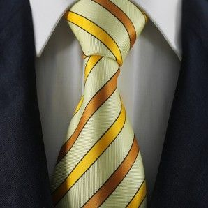 Yellow & Brown Striped Neckties / Formal Business Neckties.