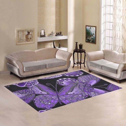 Purple Butterfly Pattern Area Rug7'x5'