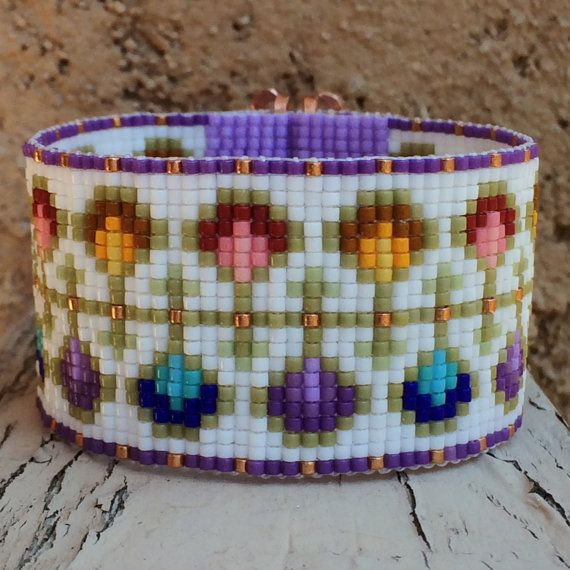 Renaissance Fantasy Bead Loom Bracelet Bohemian Boho Artisanal Jewelry Rainbow Colors Beaded Romantic Purple Pink Copper Intricate Unusual