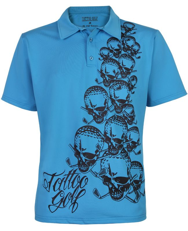 The OB Men's Golf Shirt in Blue with Cascading Skulls On The Front of This Wild Golf Shirt