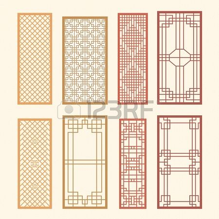 Korean old of Window Frame Symbol sets. Korean traditional Pattern is a Pattern Design. Stock Photo - 19331184