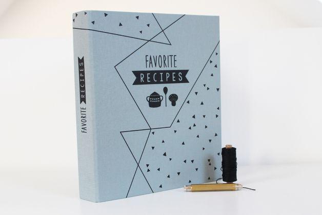 Kochbücher - Rezepte-Ordner Leinen mit Register - ein Designerstück von avaundyves bei DaWanda