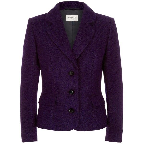 Precis Petite Bouclé Jacket, Multi Dark ($61) ❤ liked on Polyvore featuring outerwear, jackets, blazers, petite, purple blazer, petite blazer, button jacket, blazer jacket and short-sleeve jackets