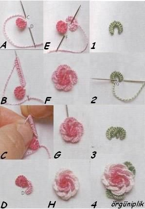 Embroidered bullion roses Tutorial ~ Tecnica chiaccherino con l'ago
