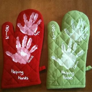 """Helping Hands"" cooking glove with the kids' handprints, perfect for Mother's Day for the grandmas!"