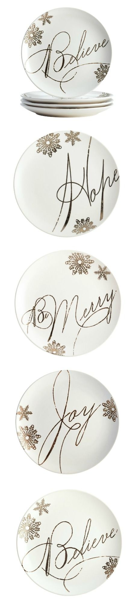 Paula Deen 4 Piece Holiday Dessert Plate Set - dinnerware | holiday note and winter color. Tableware sturdy stoneware construction, classic lines, and a ceramic glaze. motif of silver gold snowflakes and a seasonal message in script. Stylish, versatile enough for a special occasion or an informal gathering. perfect for both tabletop and buffet. Microwave / freezer safe. perfect size for salads, desserts, and appetizers. Stoneware can be warmed at 250°F for up to 20 min. dishwasher safe. #ad