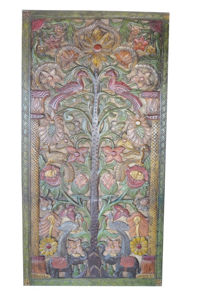 Indian Carved Door Panel Beautiful TREE Vintage Wall Sculpture Hand Carved Panel #MogulInterior