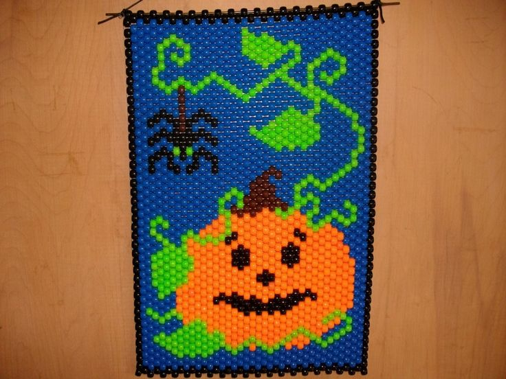 Pumpkin And Spider Beaded Banner by CraftingAddiction on Etsy